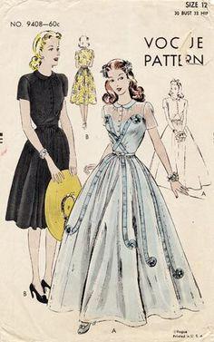 Vintage Dress Patterns, Clothing Patterns, Vintage Dresses, Vintage Outfits, 1940s Fashion, Look Fashion, Vintage Fashion, Moda Vintage, Vintage Vogue