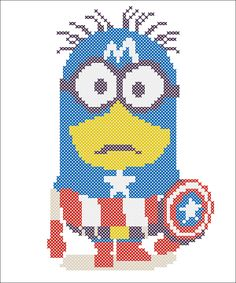 BOGO FREE! Cross stitch pattern  -MINION  Captain America   -pdf cross stitch pattern  -  pdf pattern instant download #49 by Rainbowstitchcross on Etsy