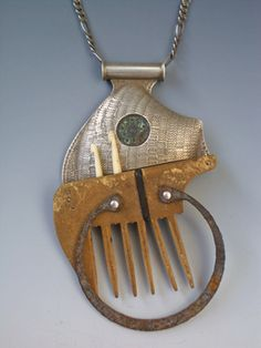 Weaving Comb made by Jesse Bert. Materials Antique colonial era Mexican button, bone, ebony, found objects | Jeweler | Artist | San Miguel de Allende, Guanajuato, Mexico