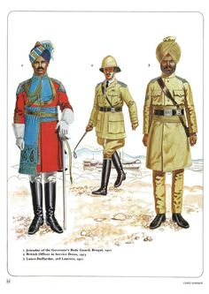 1:Jenadar of the Governov'a Body Guard,Bengal 1912.2:British officer in service dress,1913.3:Lance-Duffardar,2nd Lancers,1911.