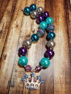 Princess Crown; Frozen INSPIRED; ANNA; ELSA; Tiara; Bubblegum Necklace; Chunky Necklace; Jewelry; Birthday; Princess; Purple; Blue by BubblegumFunandMore on Etsy