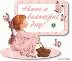 Cute-girl-with-butterfly-greets-beauitful-day.gif (397×337)