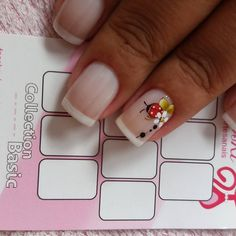 Olha que delicada meninas !!! Manicure, Hair And Nails, Ladybug, Nail Art Designs, Nailart, Make Up, Hair Styles, Triangles, Beauty