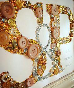 Handmade personalised wedding / anniversary/ engagement frame. Swarovski crystal / button frame. Easy order, see board description.
