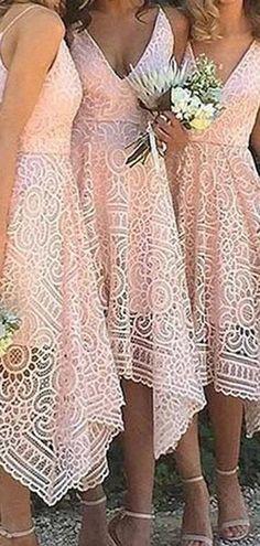 A-Line V-neck Spaghetti Straps Asymmetrical Pink Lace Bridesmaid Dress, BD0432#bridesmaids #bridesmaiddress #bridesmaiddresses #dressesformaidofhonor #weddingparty #2020bridesmaiddresses Affordable Bridesmaid Dresses, Lace Bridesmaid Dresses, Famous Brands, Pink Lace, Dream Dress, Spaghetti Straps, Dress Making, Bodice, Backless