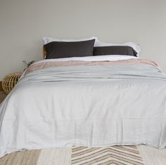 Stonewashed Linen Duvets, Sheets and Pillowcases - Duck Egg Grey - Little Additions