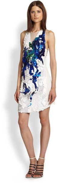 Pailletepatterned Silk Dress - Lyst