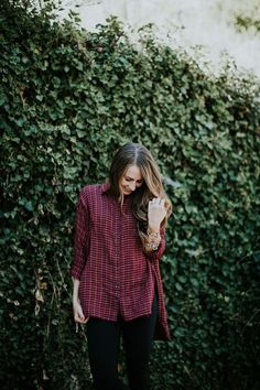 The perfect oversized flannel paired with leggings. I love this look for fall and winter.