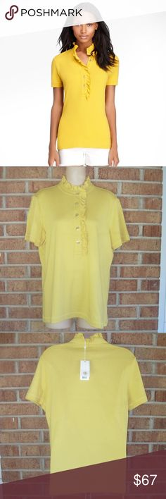 NWT Tory Burch Yellow Lidia Ruffled Polo Shirt Large. Length: Approximately 25 inches. Approximately 18 inches from armpit to armpit. Ruffle details. Collar. Gold toned buttons. Short sleeves. Unlined. 49% Pima Cotton, 49% Modal, 2% Spandex. Tory Burch Tops