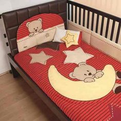 Set De Edredon Dulces Sueños Cuna Maa - $ 849.00 Baby Crib Sheets, Bargello Quilts, Cot Quilt, Patchwork Baby, Baby Comforter, Baby Bedroom, Applique Quilts, Baby Sewing, Baby Quilts