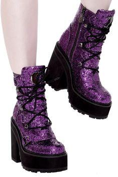 Broom Rider Boots [PURPLE GLITTER] - Shop Now - us.KILLSTAR.com