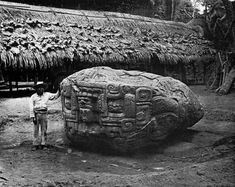 Man next to monument Quiriguá, Guatemala: Zoomorph B, after Maudslay, 1902 : TheWayWeWere Aztec Ruins, Mayan Ruins, Ancient Mysteries, Ancient Artifacts, Ancient Aliens, Ancient History, Art History, Maya Architecture, Mystery Of History