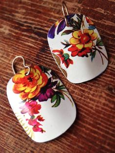 https://www.etsy.com/shop/cellardoorshoppe   Handmade Jewelry, bright floral earrings, recycled from a vintage tea tin, biscuit tin, antique tin upcycled, repurposed, ecofriendly, unique, tin jewelry