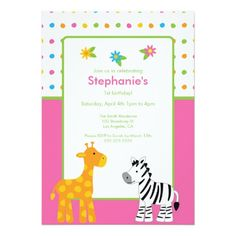 Dotted Jungle Animals  Birthday Party Invitation