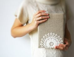 Rustic iPad sleeve decorated with milky crochet lace por GalaBorn, $56.00