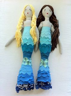 Custom Long Haired Mermaid Rag Doll, via Etsy. Toy Art, Sewing For Kids, Diy For Kids, Mermaid Toys, Sewing Crafts, Sewing Projects, Bordados E Cia, Fabric Dolls, Rag Dolls
