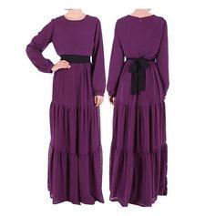 Long Sleeve Chiffon Muslim Islamic Abaya Long Sleeve Women Clothing Muslim Dress - purple, XL #fashion