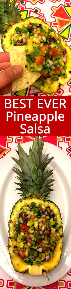 This fresh pineapple salsa tastes amazing! The pineapple shell bowl presentation is EPIC! This is a true party hit! Everyone raves about this pineapple salsa bowl!