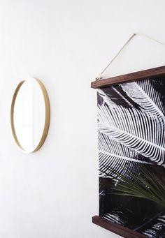 DIY hanging frame with botanical print