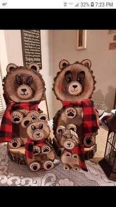 Wood Log Crafts, Wooden Christmas Crafts, Diy Wooden Projects, Wood Burning Crafts, Diy Christmas Tree, Outdoor Christmas, Christmas Projects, Fall Crafts, Holiday Crafts