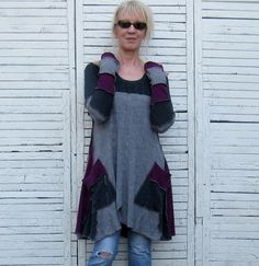 Reserved for Maria Long Sweater Tunic Upcycled by AnikaDesigns