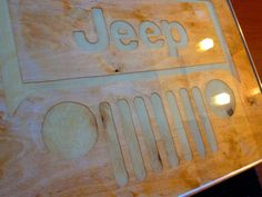 Custom luminescent JEEP camping table. Glow table. Outdoor camp hardware.