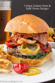 Crispy Italian Ham and Kale Pesto Burger