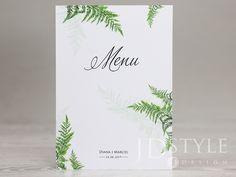 Karty menu na wesele w stylu botanicznym z motywem zielonej paproci, format A5.