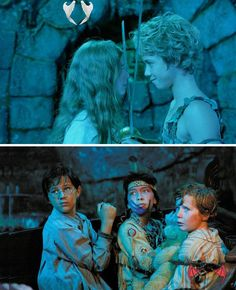 """Peter Pan (2003) Starring: Rachel Hurd-Wood as Wendy Darling, Jeremy Sumpter as Peter Pan, Harry Newell as John Darling, Carsen Gray as Tiger Lily and Freddie Popplewell as Michael Darling. - John: """"Sirs! My brother and I are English gentlemen. English gentlemen do not beg!"""" / Michael: """"Please. Please, don't kill me!"""" / John: """"Please, don't kill me either!""""<br> Peter Pan 2003, Peter Pan Movie, Peter Pan Disney, Tiger Lily Peter Pan, Jeremy Sumpter Peter Pan, Rachel Hurd Wood, Peter Pan Neverland, Peter Pan Quotes, Peter And Wendy"""