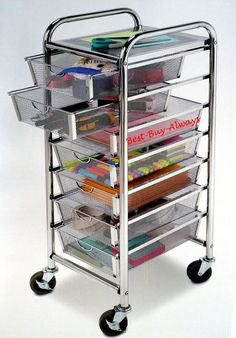 7 Drawer Rolling Organizer with Table All Metal Mesh Scrapbook Storage Cart Chrome Office Utility Craft