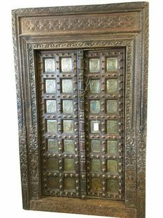 A wide selection of old world palace doors, architectural imports from India at Mogulinterior. antique doors, rustic doors, barn doors and artisan carved doors in teak wood. Antique Doors, How To Antique Wood, Vintage Doors, Rustic Doors, Wood Doors, Door Design Images, Wooden Double Doors, Pewter Art, Indian Doors