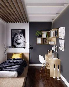 pour les étagères d'angle >> au dessus du bureau pour les couleurs >> mur gris étagères bois