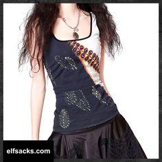 Womens Vintage floral Digital Printing Loose square-cut collar Sleeveless Vest Tshirt