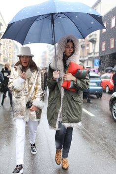 Milan Fashion Week street style.  [Photo by Kuba Drabrowski]