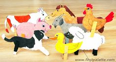 Clothespin Farm Animals craft (Barnyard Dance by Sandra Boynton. Farm Animal Crafts, Farm Crafts, Animal Crafts For Kids, Camping Crafts, Fun Crafts For Kids, Toddler Crafts, Preschool Crafts, Crafts To Make, Preschool Farm