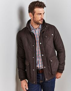 Men's Thursley Quilted Jacket in French Roast from Crew Clothing