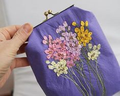Your place to buy and sell all things handmade Frame Purse, Embroidery Bags, Dice Bag, Wedding Purse, How To Make Ribbon, Lavender Color, Silk Ribbon, Handmade Bags, Handicraft