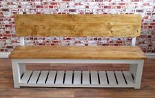Rustic Pine Pew Storage Hall Bench Farmhouse Reclaimed Wood - Free Delivery*