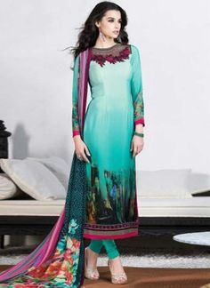 Fine Turquoise Printed And Designer Georgette Churidar Suit In Fiji http://www.angelnx.com/