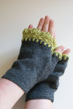 Ladies Fingerless Gloves , Grey and Green Gloves. $35.00, via Etsy.