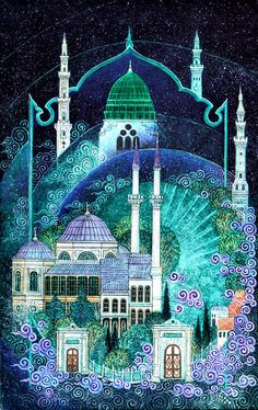 Nusret Çolpan was a Turkish painter, architect and miniaturist, renowned for his paintings in Ottoman miniature style depicting cities around the world, particularly Istanbul. Islamic World, Islamic Art, Islamic Calligraphy, Calligraphy Art, Illustrations, Illustration Art, Fall Of Constantinople, Kreative Portraits, Turkish Art