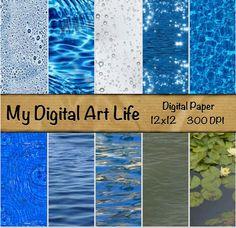 Water Digital Paper Pack for digital scrapbooking - instant download - commercial use ok.