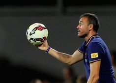 FC Barcelona head coach Luis Enrique reacts during the preseason friendly match between ACF Fiorentina and FC Barcelona at Artemio Franchi on August 2, 2015 in Florence, Italy.