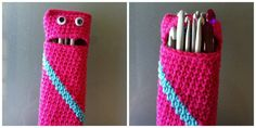 Hook Monster Pattern fab quirky pattern for a needle case could also be used for ipod mobile or as a pencil case with added zip for kids Crochet Pencil Case, Crochet Case, Crochet Hooks, Knit Crochet, Crochet Crafts, Yarn Crafts, Crochet Projects, Diy Bags Easy, Knitting Patterns