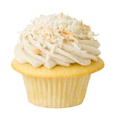 Golden Buttermilk Cupcake with Vanilla Bean Icing topped with Toasted Coconut