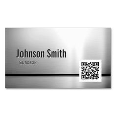 Surgeon - Stainless Steel QR Code Business Cards. This great business card design is available for customization. All text style, colors, sizes can be modified to fit your needs. Just click the image to learn more!