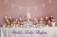 Vintage pink lolly/candy buffet