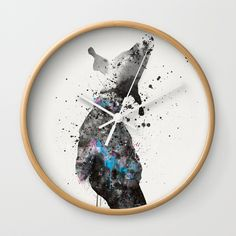 "Available in natural wood, black or white frames, our 10"" diameter unique Wall Clocks feature a high-impact plexiglass crystal face and a backside hook for easy hanging. Choose black or white hands to match your wall clock frame and art design choice. Clock sits 1.75"" deep and requires 1 AA battery (not included). #wallclock #dog #watercolor  #accessories"