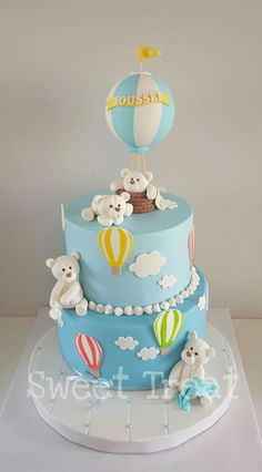 Baby Shower Balloons, Baby Shower Cakes, Baby Boy Shower, Boys First Birthday Cake, Baby Birthday Cakes, Christening Cake Boy, Button Cake, Teddy Bear Cakes, Baby Girl Cakes