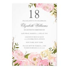 Pink Blush Watercolor Floral Birthday Invite handpainted Make your day special with these unique ideal for your wedding and Rustic Bridal Shower Invitations, Pink Invitations, Floral Invitation, Wedding Invitations, 18th Birthday Invites, Create Your Own Invitations, Floral Watercolor, Blush Pink, Brunch